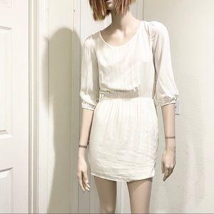 Francesca's Ivory Belted Mini Dress M